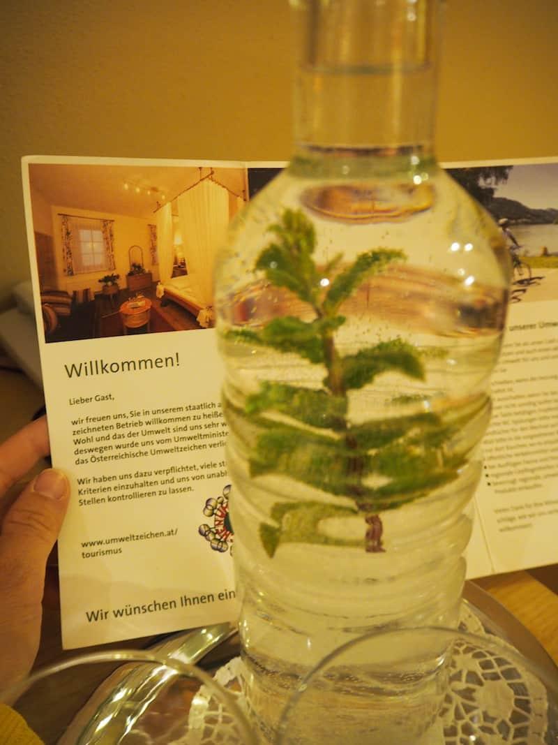 ... beim Empfang erwartet uns frisches Quellwasser mit angenehmen Minzaromen am Zimmer ...
