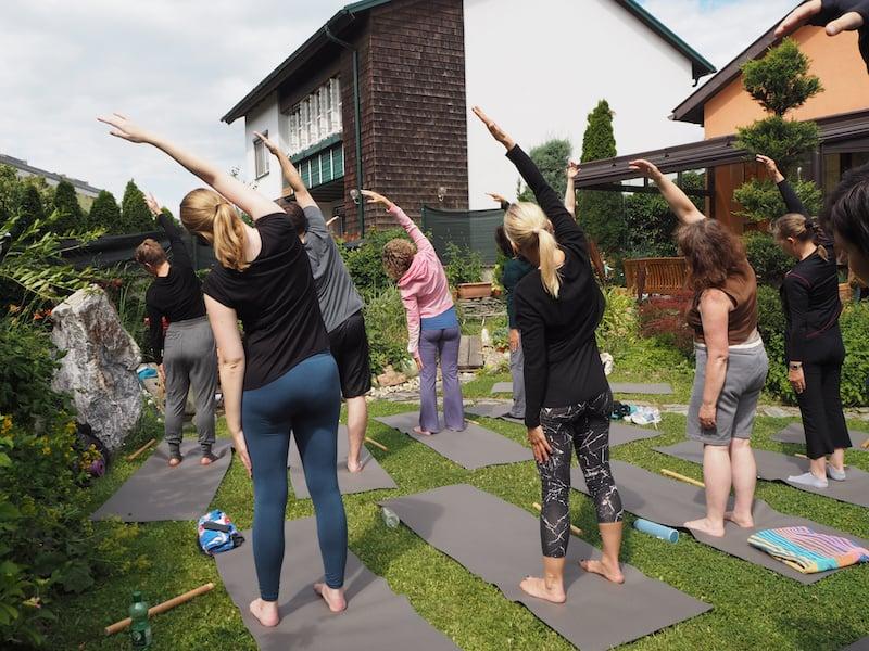 ... mit Yoga im Garten bei der lieben Heike ...