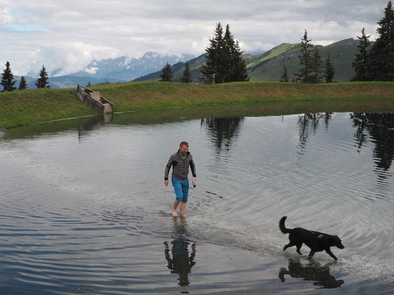 Besser ist es da, mit Herrchen durch den Spiegelsee zu laufen ...