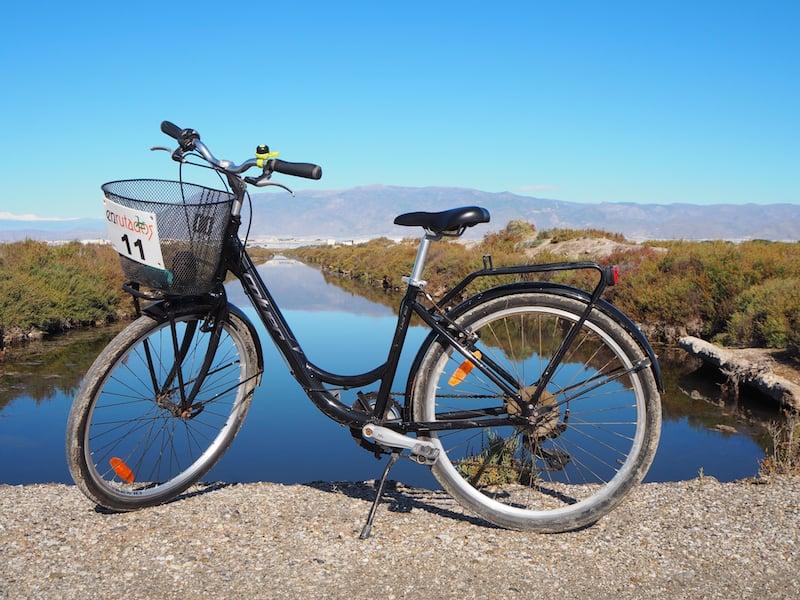Der Drahtesel, eines der besten Mittel, um an einem sonnigen Vormittag entlang der flachen Küstenlandschaften Almerías unterwegs zu sein ...