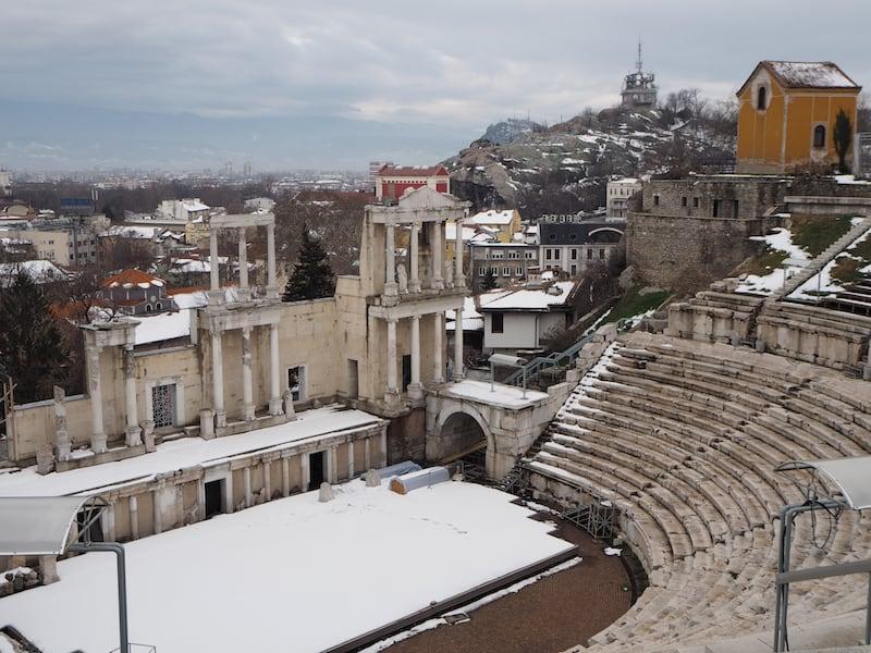 Der Blick über das alte Amphitheater Plovdiv's fasziniert ...