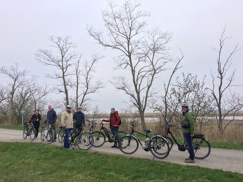 Ein typisches Bild vom Neusiedlersee: Unterwegs mit unseren schicken E-Bikes zur Vogel- und Naturbeobachtung an den Neusiedlersee ...