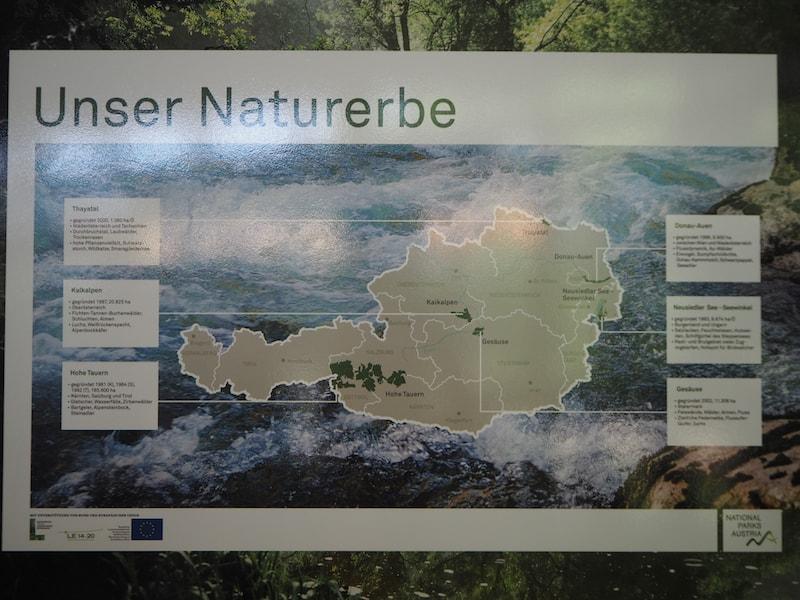 ... gibt nicht nur eine Übersicht über Natur- und Artenschutz im Nationalpark Thayatal selbst (der kleinste aller sechs österreichischer Nationalparks, wie hier deutlich wird) ...