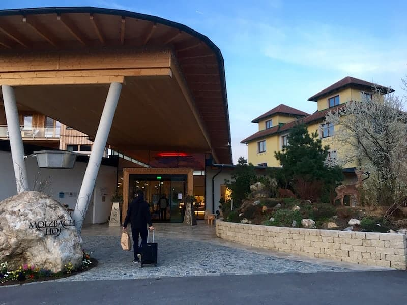 "Arriving at the new hotel ""Der Holzbach"", joining up with the original Molzbachhof hotel ..."