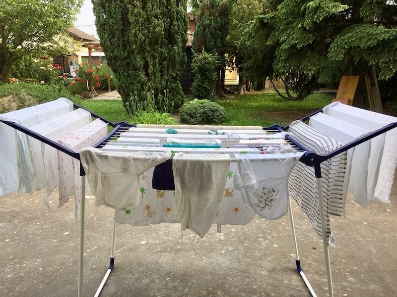 Mit dem Baby ist auf alle Fälle auch ein Haufen Wäsche eingezogen ...!