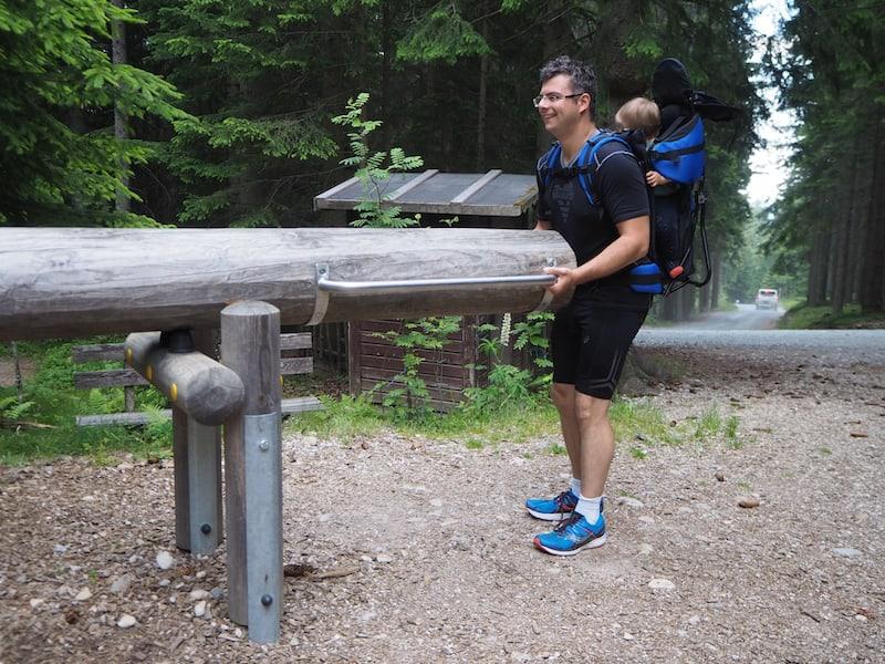 """Auf dem """"Ameisen-Lehrpfad"""" ist es auch eher noch der starke Papa, der sich an den Erlebnis-Stationen im Wald versucht ..."""