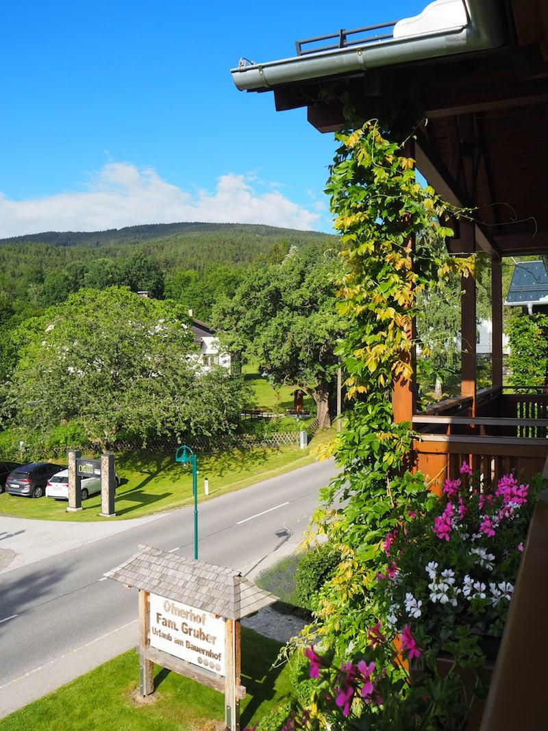 """... und auch die Aussicht vom Balkon über die sanft geschwungenen Hügel des uns umgebenden """"Wechsellandes"""" genießen wir sehr."""