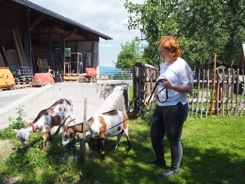 ... und weil sie so schnell ausbüxen, legt Birgit sie gerne auch mal an die Leine ...!