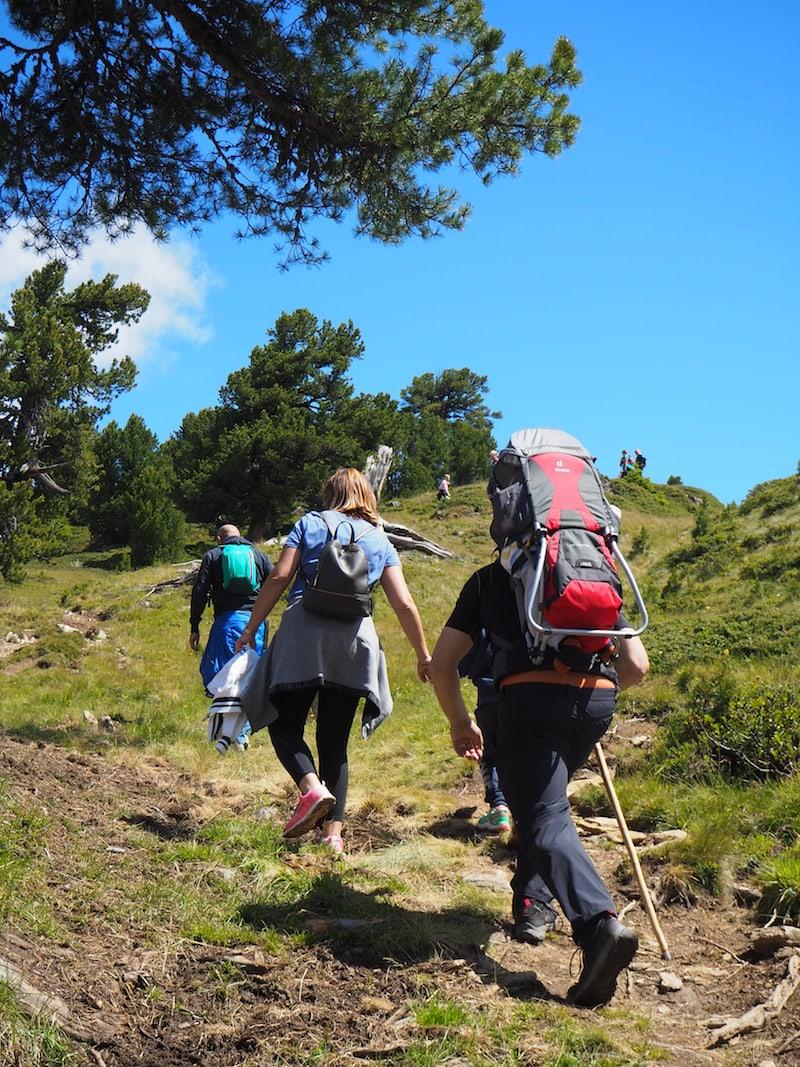 Von der Bergstation des Hochzeiger ist es nur eine gute halbe Stunde zur Kalbenalm: Hier wandern wir mitten durch eine