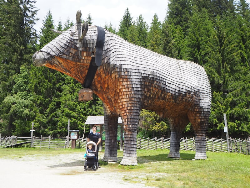 """... hier treffen wir auf die größte """"Holzschindel-Kuh"""", die wir je gesehen haben ..."""