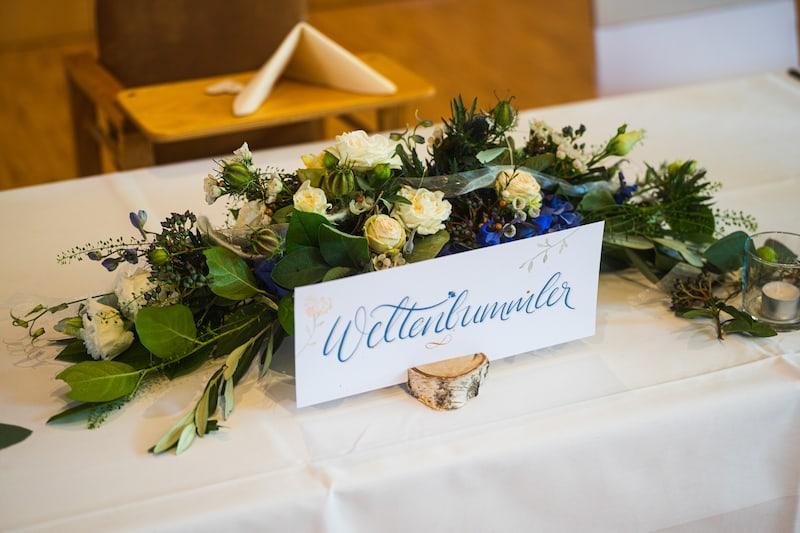 """Ein weiteres Detail aus unserer zauberhaft gestalteten Deko: Die Brauttafel tauften wir kurzerhand """"Weltenbummler"""" ..!"""