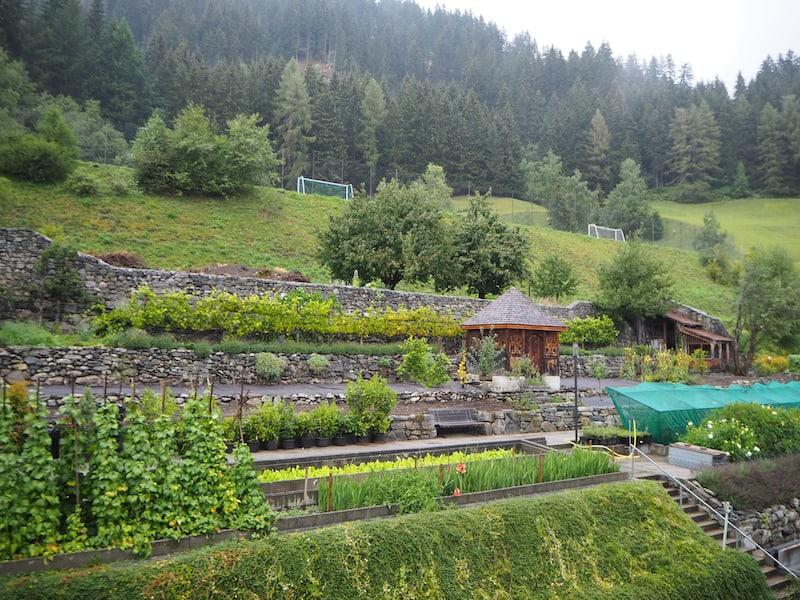 Blick in den Kräutergarten des Kloster Disentis, der direkt am Berghang hinter dem Kloster liegt ...