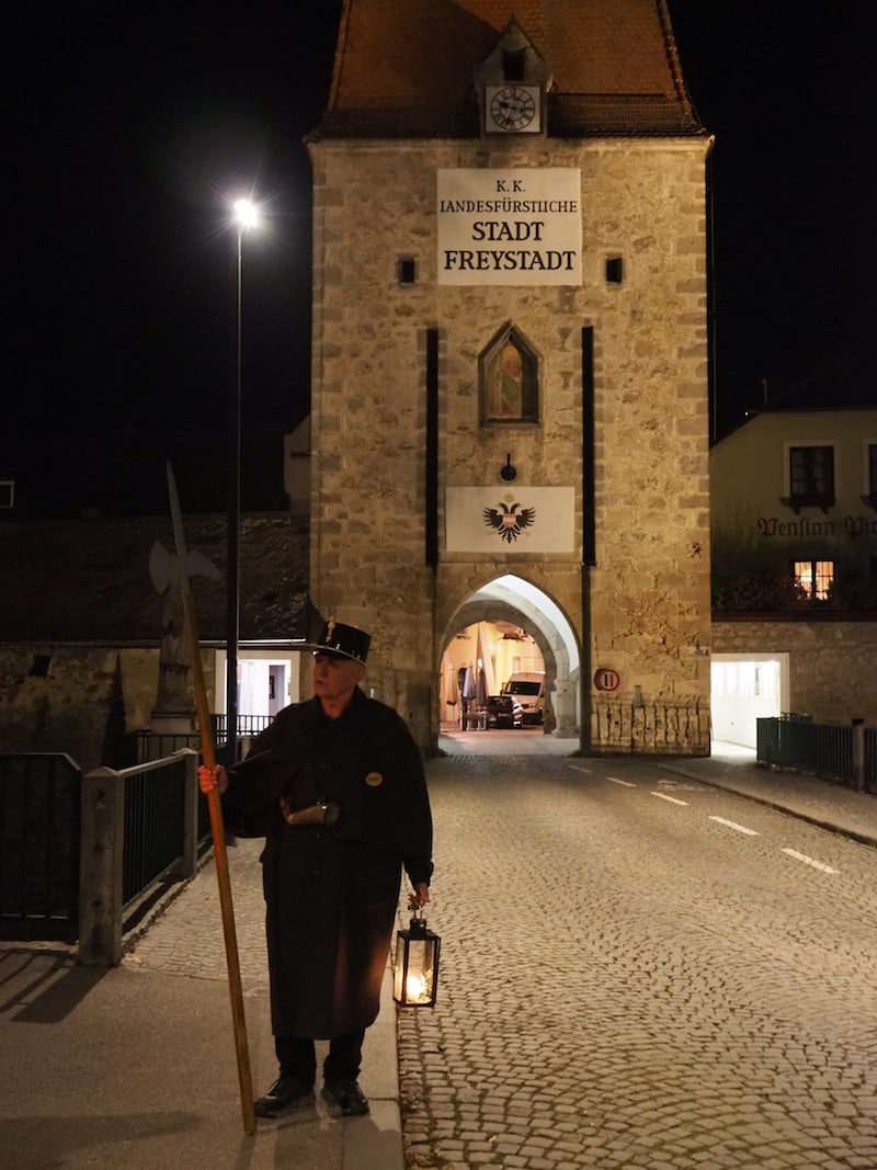"A guided tour with the night watchman is something very special. The halberd was originally used for protection, but also for the ""jurisdiction"" of the night watchman, who acted as a kind of policeman and judge (watchman of the night)."