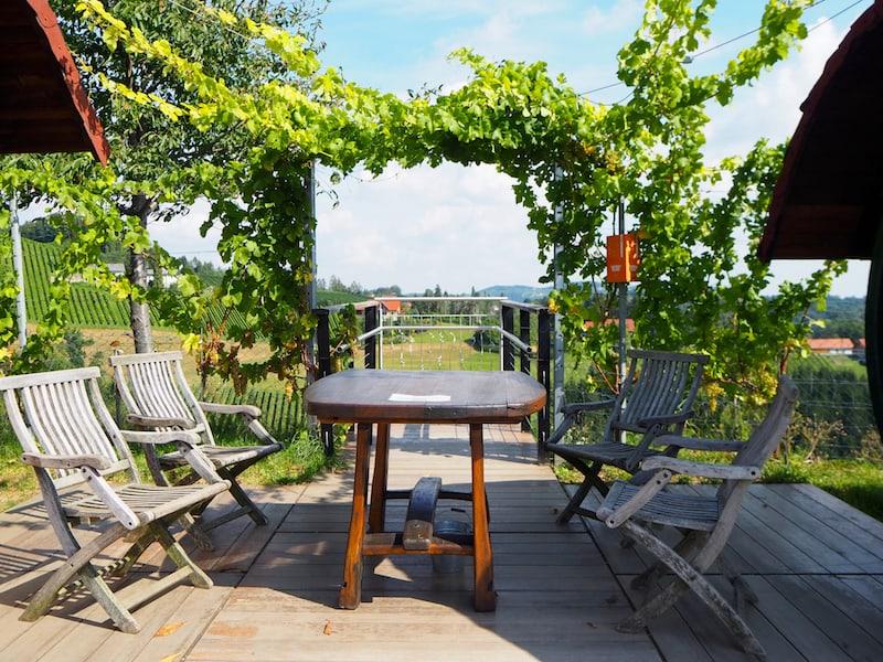 """Nahe des Weingut ... finden wir ein echtes Highlight: Den sogenannten """"Wein-Skywalk"""" mit Blick über die umliegenden Riedenlandschaften. Gäste können hier aus einem nahe gelegenen Wein-Schrank"""
