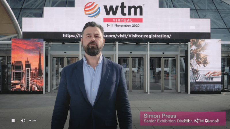 Simon Press, ..., kicks off the digital edition of London World Travel Market in front of an actual, empty ExCel London fairground. For the past decades, the entrance area has been teeming with thousands of travel business people going back and forth at this time of the year.