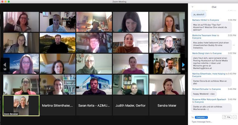"""View into the """"digital workspace"""": Participants from all corners of Austria work diligently via Zoom and participate lively in the discussion."""