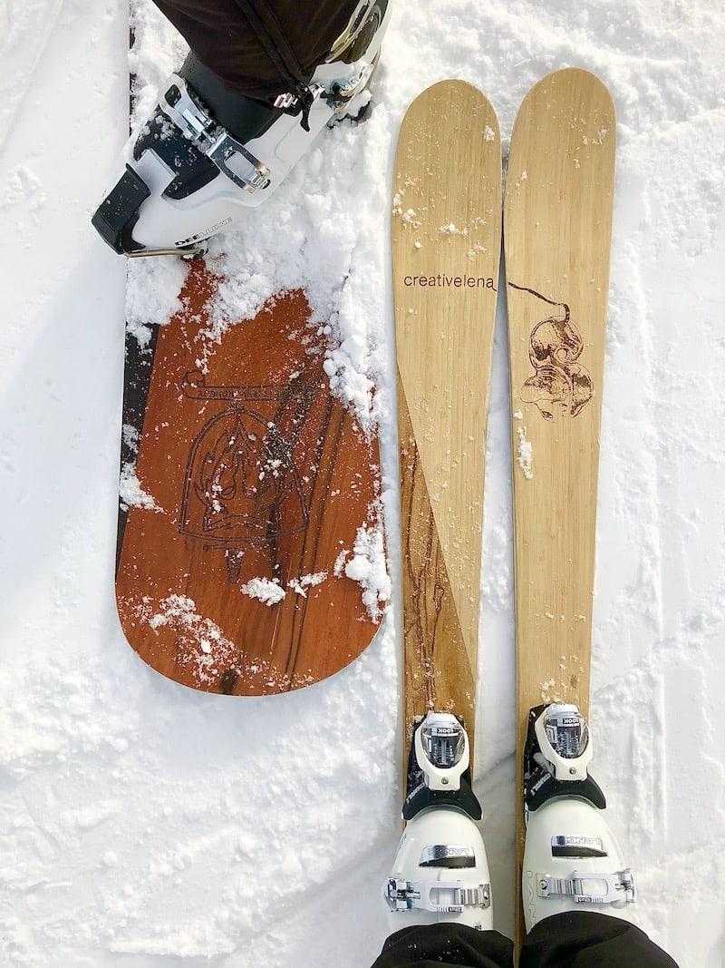 Als Ski- und Schneeliebhaber sind Georg und ich sehr gerne in den Bergen unterwegs: Hier mit unseren eigens entworfenen Ski bzw. Snowboard.