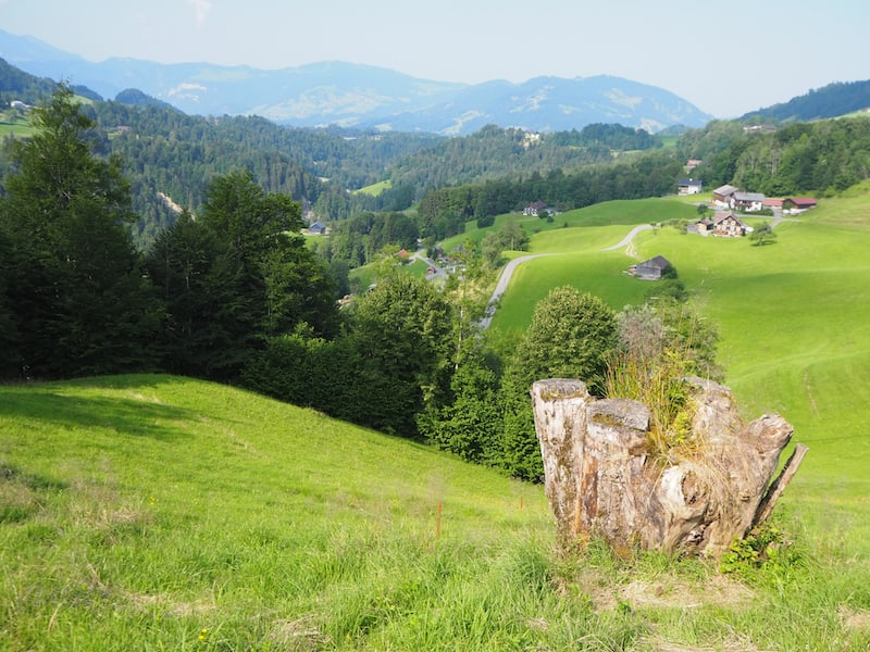 Blick auf das Landschaftskino Bregenzerwald von Hittisau aus gesehen, direkt hinter dem Frauenmuseum.