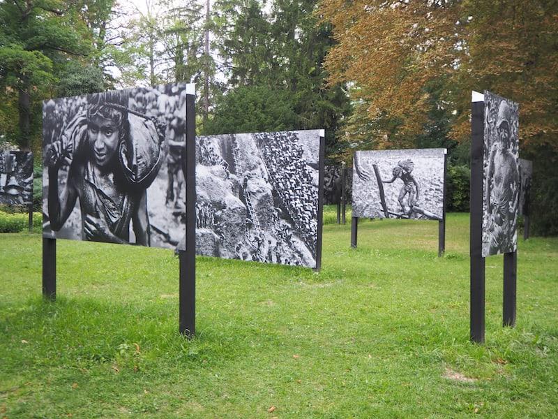 """Weiter drinnen im Park staunen wir über die faszinierende, mehr als 100 Jahre alte Schwarz-Weiß-Fotografie von Sebasitão Salgado, """"Gold"""", der"""